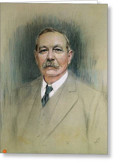 Author Greeting Cards - Portrait Of Sir Arthur Conan Doyle Pastel On Paper Greeting Card by William Henry Gates