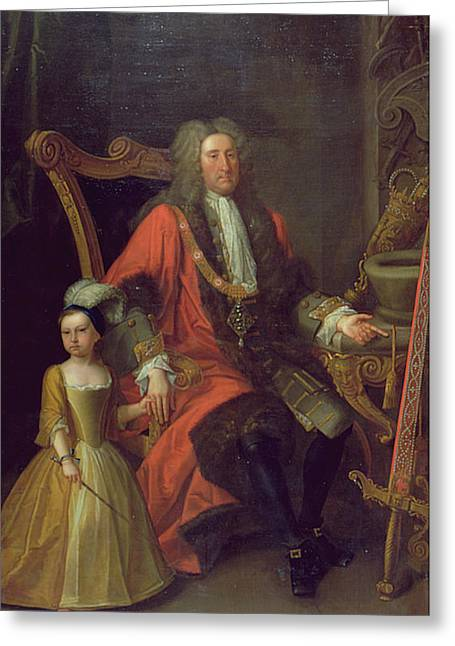 Fur Trim Greeting Cards - Portrait Of Sir Charles Peers, Lord Mayor In 1715, And His Granddaughter, C.1715 Oil On Canvas Greeting Card by English School