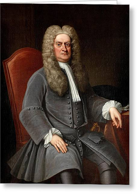 Isaac Newton Greeting Cards - Portrait of Sir Isaac Newton Greeting Card by English School