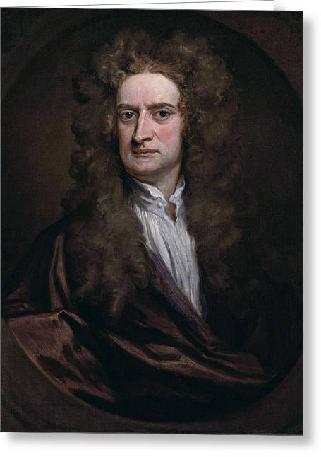Isaac Newton Greeting Cards - Portrait of Sir Isaac Newton Greeting Card by Godfrey Kneller