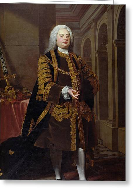Robes Greeting Cards - Portrait Of Sir John Barnard 1685-1764 Lord Mayor In 1737, 1738 Oil On Canvas Greeting Card by Joseph Highmore