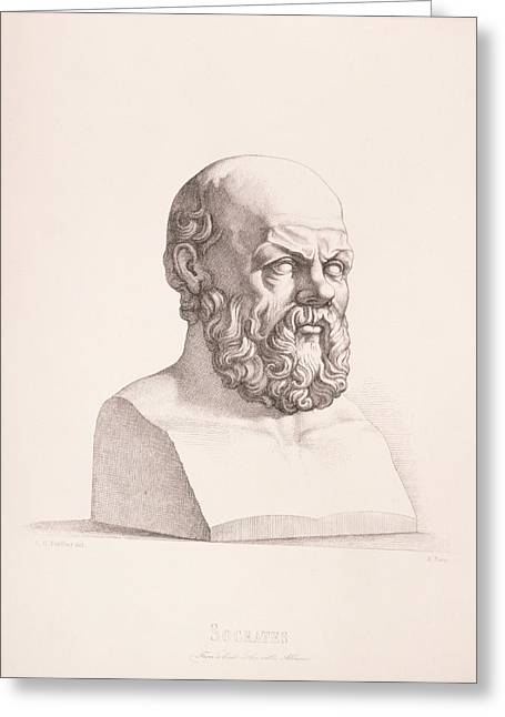 Philosopher Greeting Cards - Portrait of Socrates Greeting Card by CC Perkins