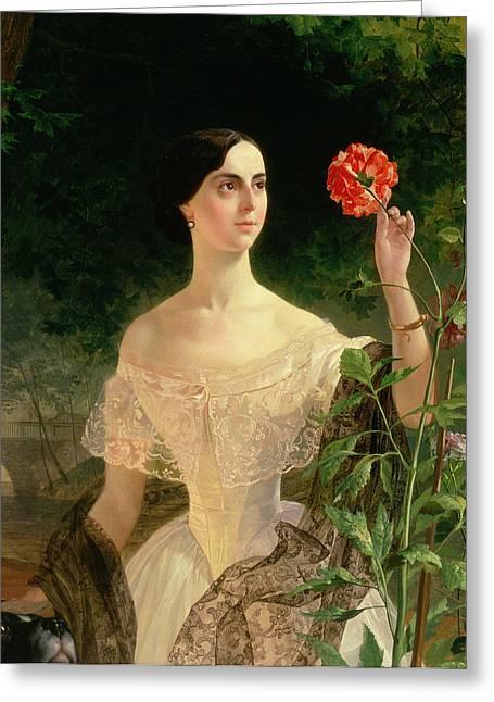 Inspecting Greeting Cards - Portrait of Sofia Andreyevna Shuvalova Greeting Card by Karl Pavlovich Bryullov