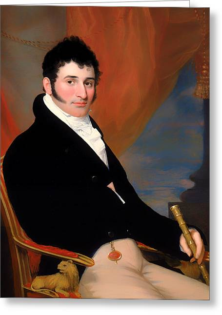 Sideburns Paintings Greeting Cards - Portrait of Solomon Issacs Greeting Card by John Wesley Jarvis