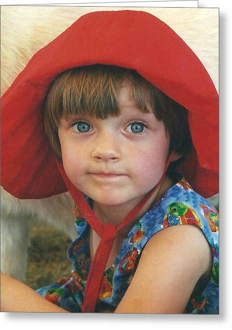 Little Girl Portrait With White Hat Greeting Cards - Portrait Of Sophia In A Red Hat Greeting Card by Patricia Sundik