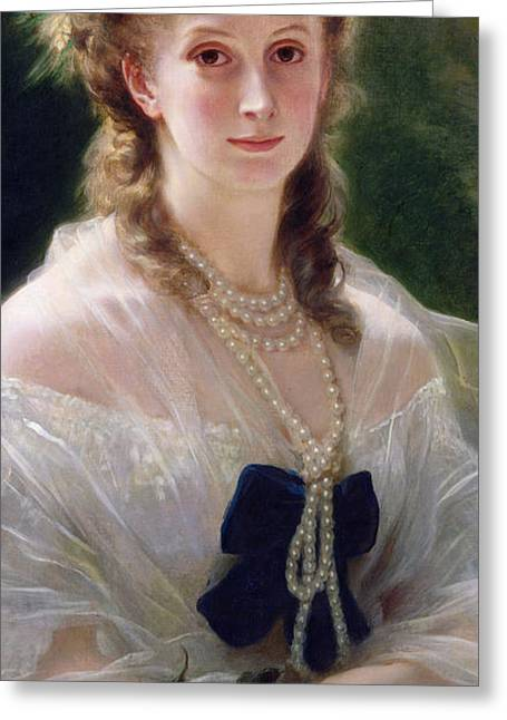 Blue Necklace Greeting Cards - Portrait of Sophie Troubetskoy  Greeting Card by Franz Xaver Winterhalter