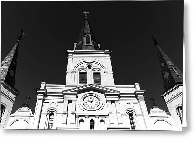 St. Louis Artist Greeting Cards - Portrait of St. Louis Cathedral mono Greeting Card by John Rizzuto