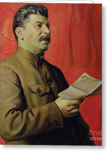 Announcement Greeting Cards - Portrait of Stalin Greeting Card by Isaak Israilevich Brodsky