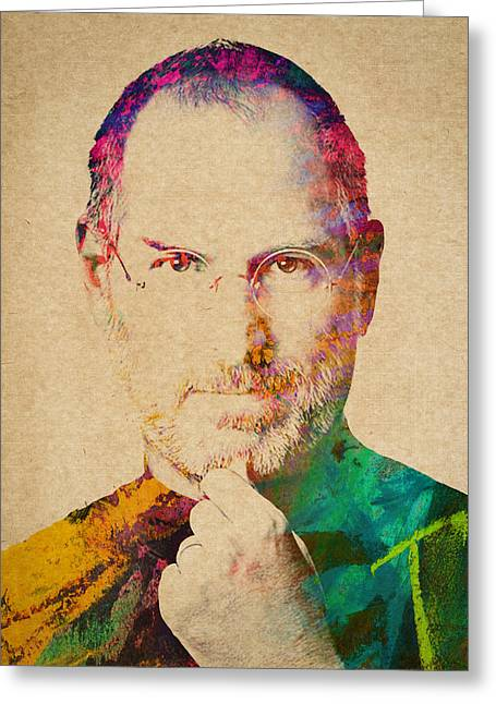 Macintosh Greeting Cards - Portrait of Steve Jobs Greeting Card by Aged Pixel