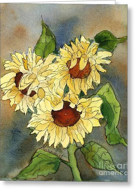 Pen Greeting Cards - Portrait of Sunflowers Greeting Card by Maria Hunt