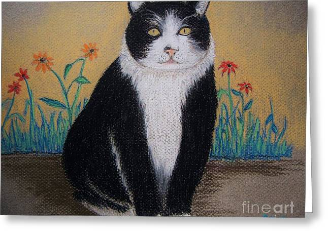 Ilustration Greeting Cards - Portrait of Teddy The Ninja Cat Greeting Card by Reb Frost