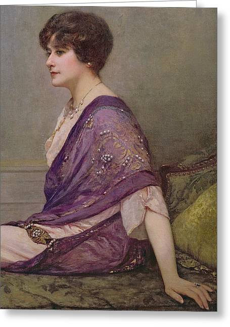 Dressmaker Greeting Cards - Portrait of th ecourturier Madame Paquin Greeting Card by Henri Gervex