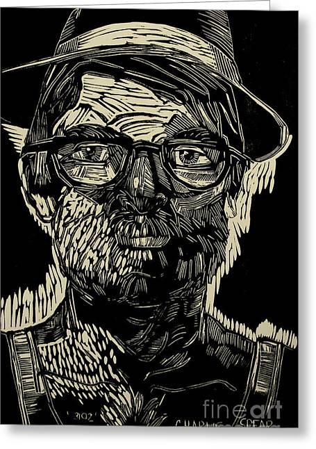 Lino Cut Portrait Greeting Cards - PORTRAIT of the ARTIST in a Fedora final stage Greeting Card by Charlie Spear