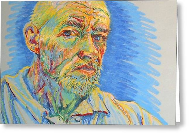 Van Gogh Style Greeting Cards - Portrait of the Artist Greeting Card by Jackson Ordean