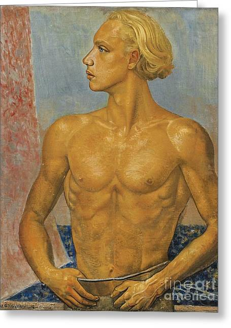 Strength Paintings Greeting Cards - Portrait Of The Artists Son Greeting Card by Celestial Images