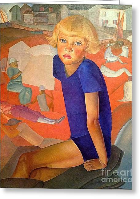 Orthodox Paintings Greeting Cards - Portrait of the Artists Son Greeting Card by Boris Grigoriev