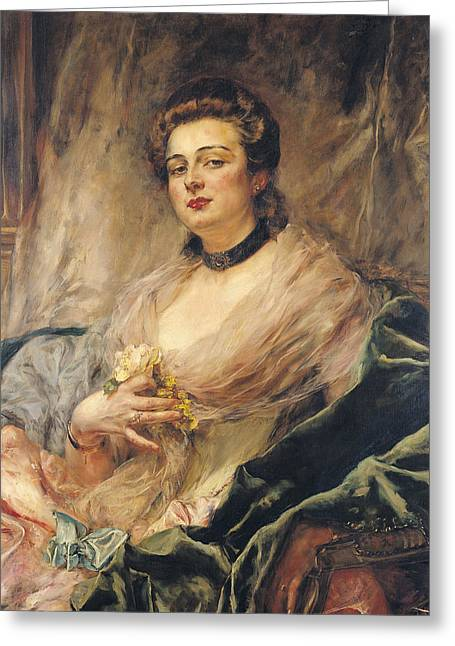 Artist Photographs Greeting Cards - Portrait Of The Artists Wife Oil On Canvas Greeting Card by Eduardo-Leon Garrido