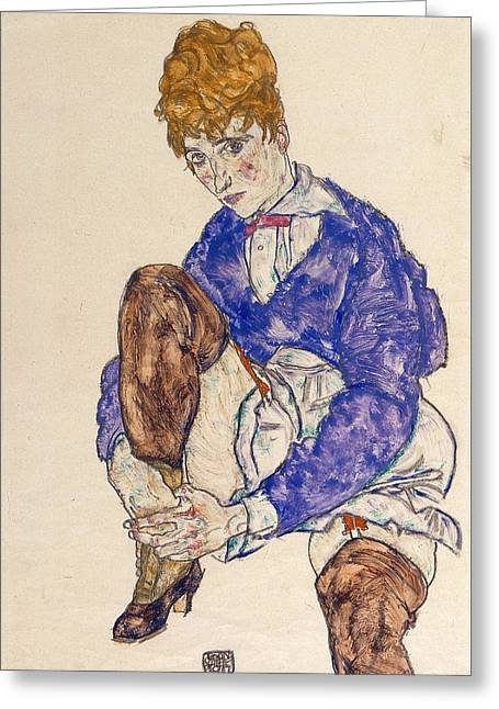 Schiele Drawings Greeting Cards - Portrait of the Artists Wife Seated Holding Her Right Leg Greeting Card by Egon Schiele