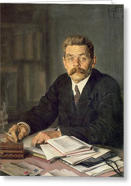 Smoking Book Greeting Cards - Portrait Of The Author Maxim Gorky 1868-1939, 1929 Oil On Canvas Greeting Card by Isaak Israilevich Brodsky