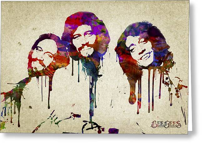 Disco Mixed Media Greeting Cards - Portrait of the Bee Gees Greeting Card by Aged Pixel