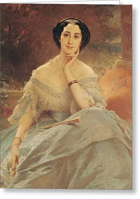 Blue Necklace Greeting Cards - Portrait of the Countess of Hallez-Claparede Greeting Card by Edouard Louis Dubufe