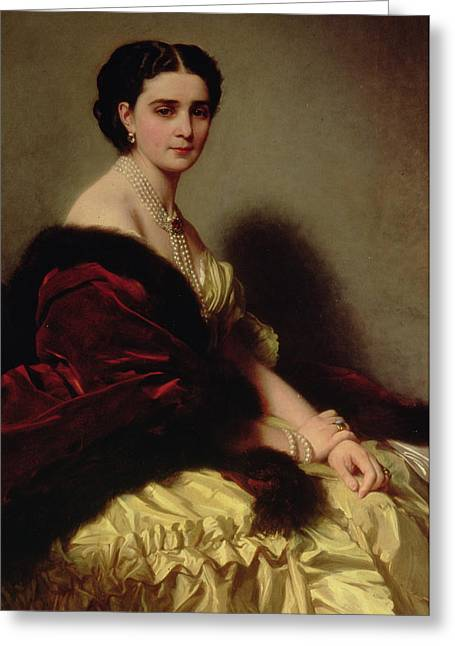 Franz Xaver Winterhalter Greeting Cards - Portrait of the Countess Sophie Naryshkina Greeting Card by Franz Xaver Winterhalter