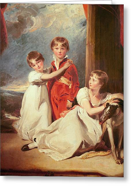 Greyhound Photographs Greeting Cards - Portrait Of The Fluyder Children, 1805 Oil On Canvas Greeting Card by Sir Thomas Lawrence