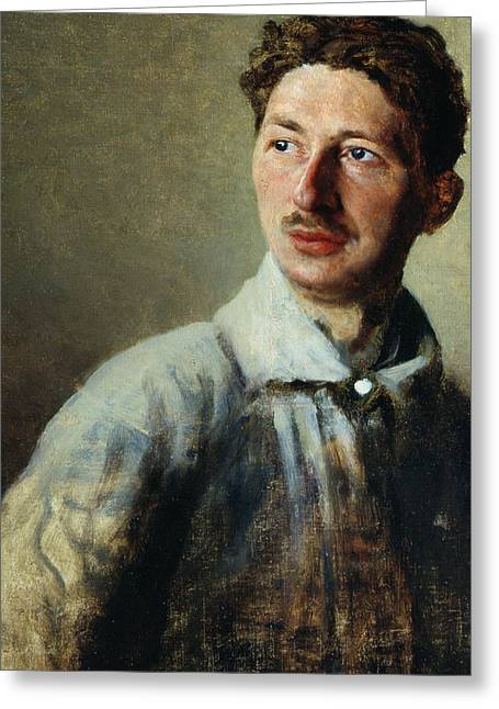 Ivan Greeting Cards - Portrait of the poet Sergey Gorodetsky Greeting Card by Ivan Kirillovich Parkhomenko