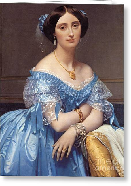 Embroidery Greeting Cards - Portrait of the Princesse de Broglie Greeting Card by Jean Auguste Dominique Ingres