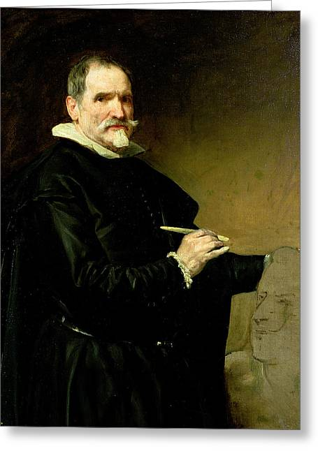 Artist Photographs Greeting Cards - Portrait Of The Sculptor, Juan Martinez Montanes 1568-1649 1635 Oil On Canvas Greeting Card by Diego Rodriguez de Silva y Velazquez