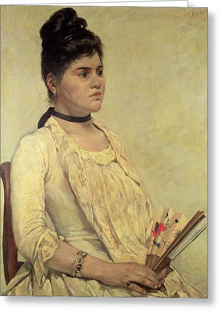 Profile Portrait Greeting Cards - Portrait of the Step Daughter Greeting Card by Giovanni Fattori