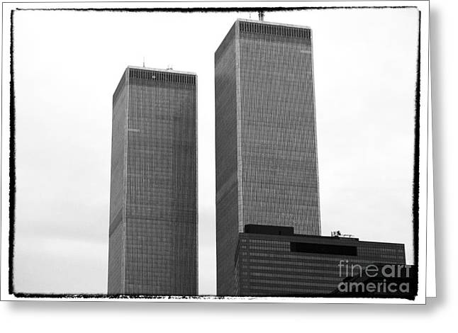 The Twin Towers Of The World Trade Center Greeting Cards - Portrait of the Towers 1990s Greeting Card by John Rizzuto