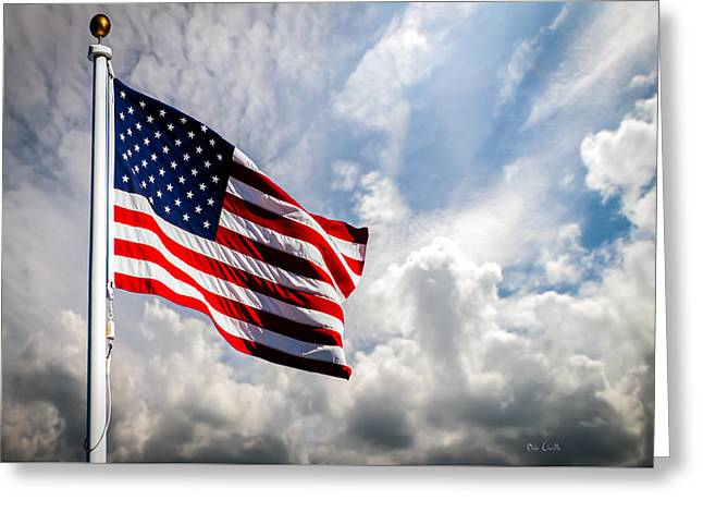 Betsy Greeting Cards - Portrait of The United States of America Flag Greeting Card by Bob Orsillo