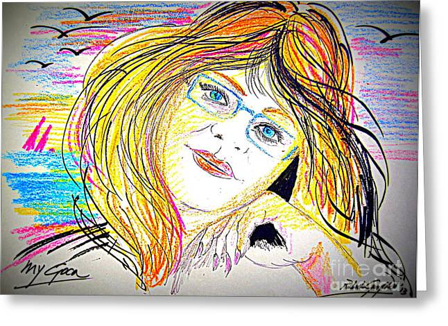Human Beings Drawings Greeting Cards - Portrait of the Woman 2 Greeting Card by Roberto Gagliardi