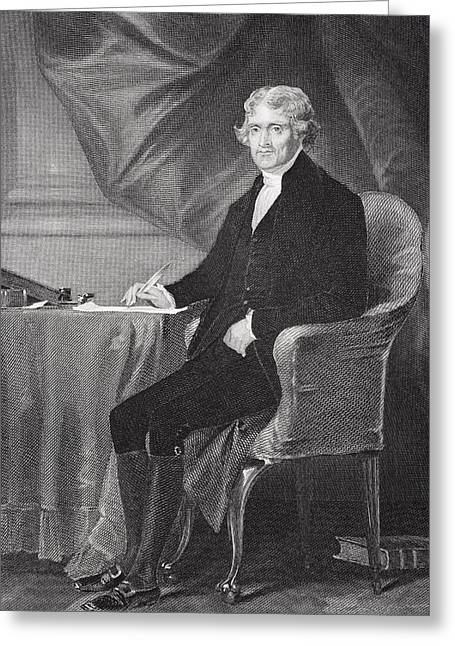 President Of America Drawings Greeting Cards - Portrait of Thomas Jefferson Greeting Card by Alonzo Chappel