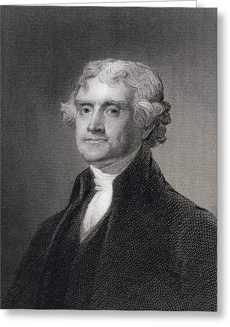 Declaration Of Independence Drawings Greeting Cards - Portrait of Thomas Jefferson Greeting Card by Henry Bryan Hall