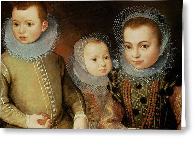 Lace Greeting Cards - Portrait Of Three Tudor Children Greeting Card by F.f.
