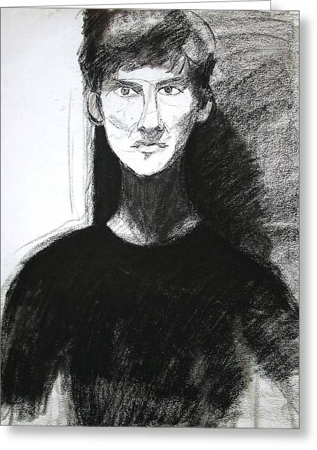 Light And Dark Drawings Greeting Cards - Portrait of Troy 2 Greeting Card by Anita Dale Livaditis