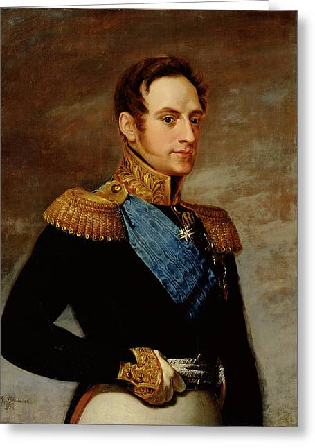Sideburns Photographs Greeting Cards - Portrait Of Tsar Nicholas I 1796-1855 1826 Oil On Canvas Greeting Card by Vasili Andreevich Tropinin