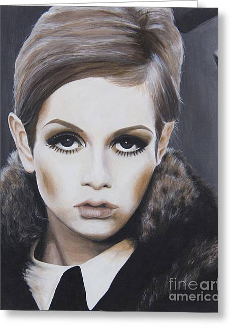Twiggy Greeting Cards - Portrait of Twiggy Greeting Card by Moe Notsu