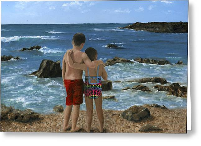Children At Beach Greeting Cards - Portrait of Two Children at Beach Greeting Card by Cecilia  Brendel