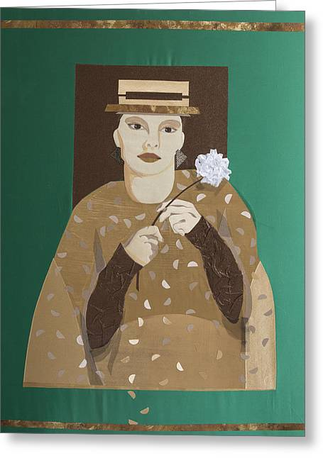 Portraits Tapestries - Textiles Greeting Cards - Portrait of Unknown Greeting Card by Tanya Mayer