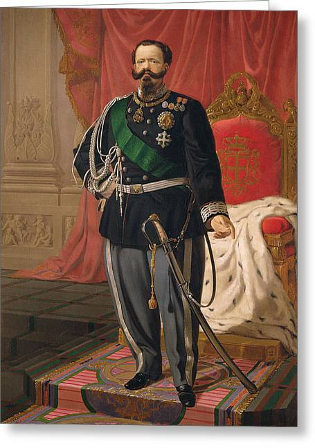 Royalty Greeting Cards - Portrait Of Victor Emmanuel Ii Of Italy Oil On Canvas Greeting Card by Cesare Campini