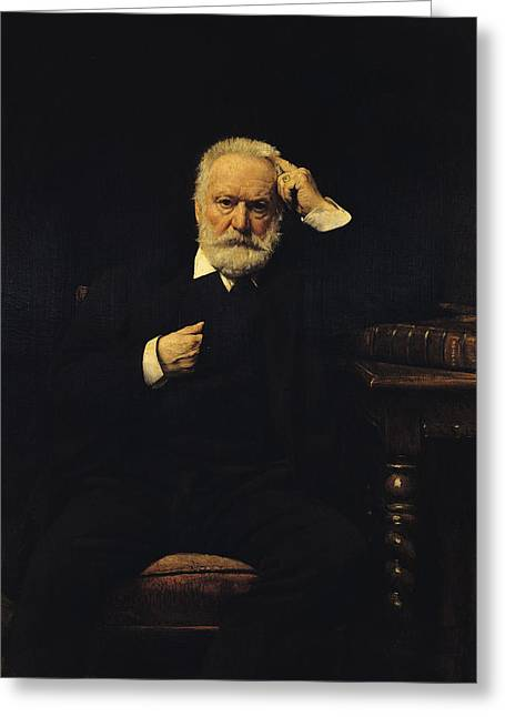 Novelist Greeting Cards - Portrait Of Victor Hugo 1802-85 1879 Oil On Canvas Greeting Card by Leon Joseph Florentin Bonnat