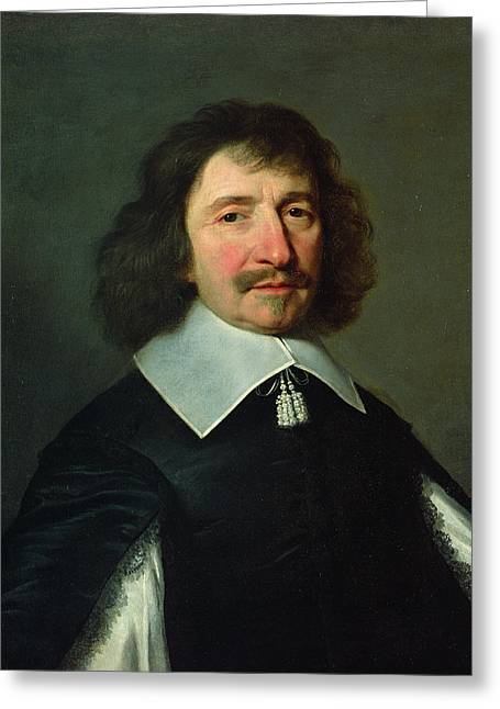 Moustache Greeting Cards - Portrait Of Vincent Voiture 1597-1648 C.1643-44 Oil On Canvas Greeting Card by Philippe de Champaigne