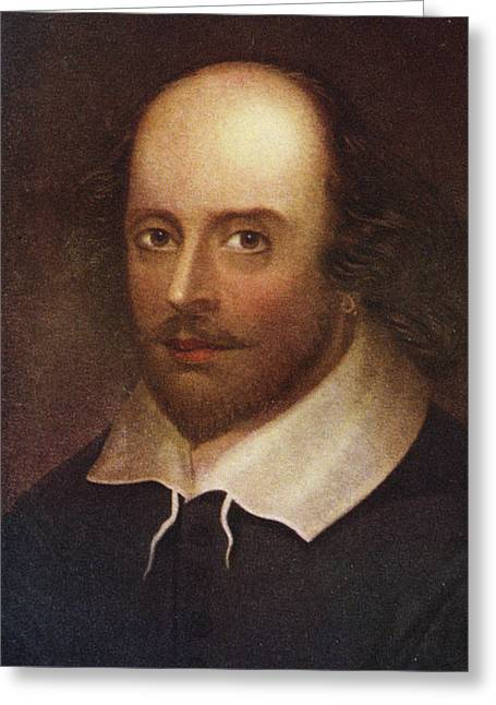 Dramatist Greeting Cards - Portrait Of William Shakespeare 1564-1616 Colour Litho Greeting Card by English School