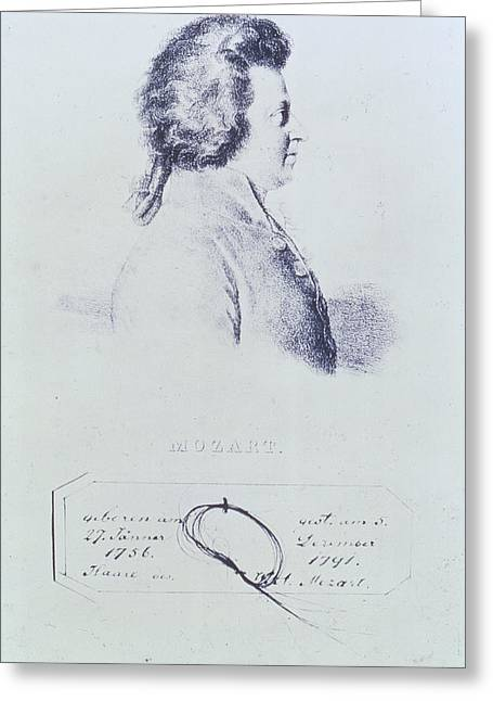 Portrait Of Wolfgang Amadeus Mozart 1756-91 With A Lock Of His Hair Attached Below Engraving Greeting Card by Austrian School