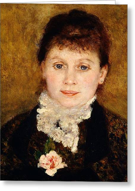 France 1874-1886 Greeting Cards - Portrait of woman Greeting Card by Pierre-Auguste Renoir