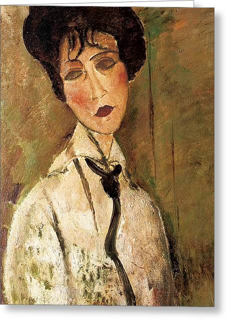 Clemente Paintings Greeting Cards - Portrait of Woman with Black Tie Greeting Card by Amedeo Modigliani