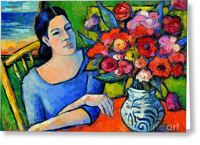 Portrait With Still Life Greeting Cards - Portrait Of Woman With Flowers Greeting Card by Mona Edulesco